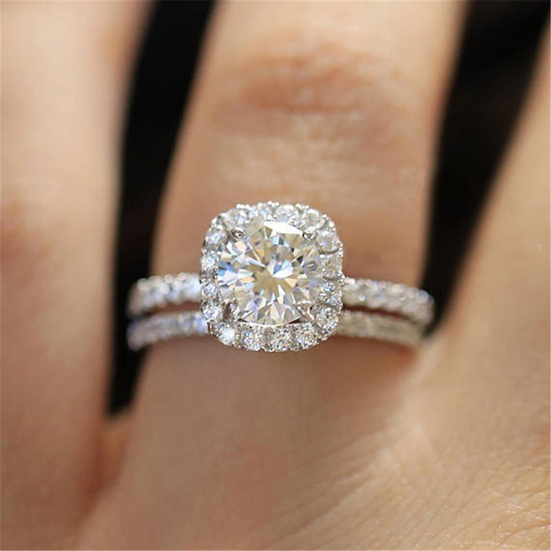 Huitan 2PC Bridal Ring with Round Brilliant Cubic Zircon Prong Setting Anniversary Engagement Wedding Rings for Women Size 6-10