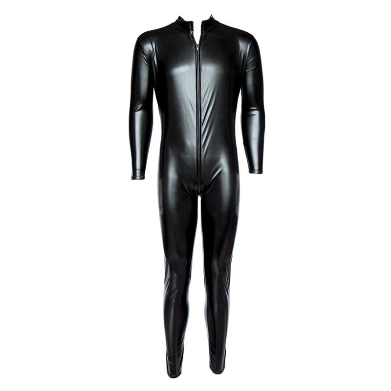 Men's Front Zipper METALLIC Wet Look Shiny <font><b>Lycra</b></font> Second Skin Spandex Full Body <font><b>Catsuit</b></font> Bodysuit Zentai Suit Fetish <font><b>Sexy</b></font> Costume image