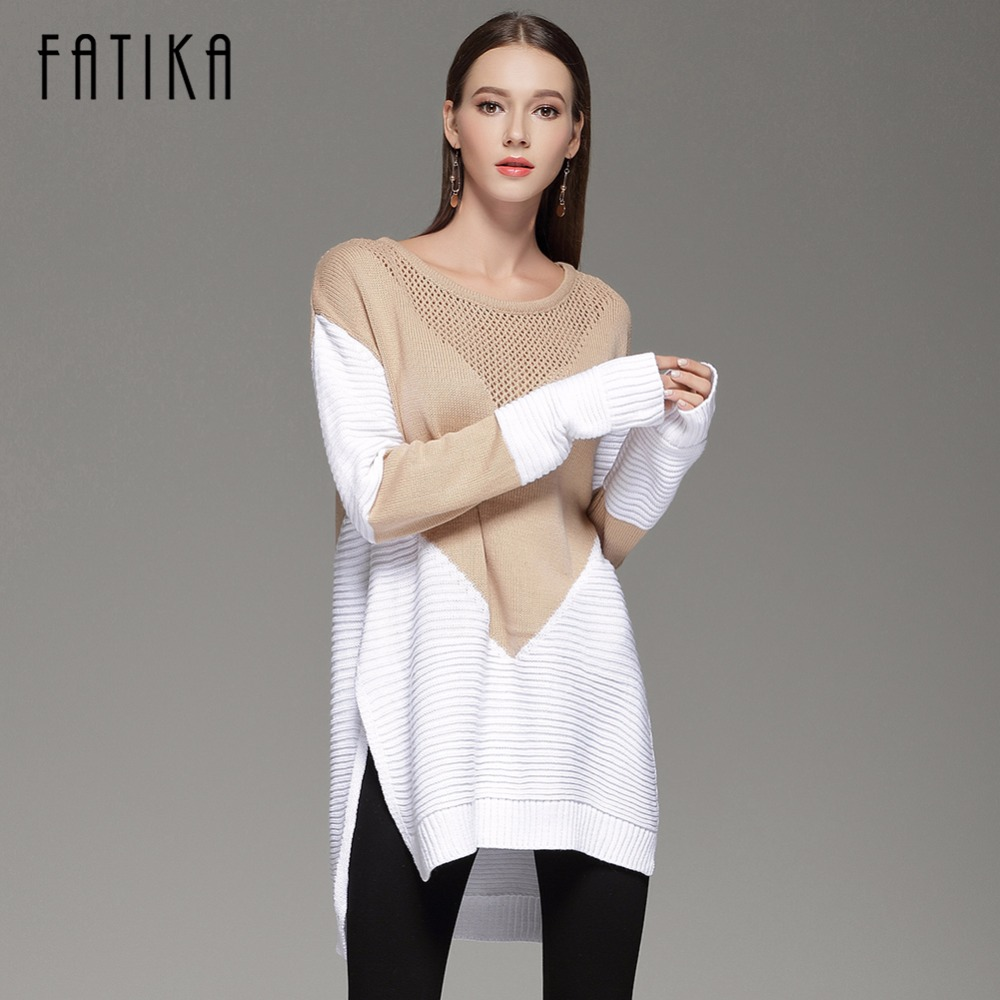 FATIKA 2017 New Autumn Winter Fashion Women's Pullover Front Short Back Long O-neck Knitted Sweaters Casual Loose Jumper Tops free shipping 52mm rc boat steering wheel aluminium alloy water rudder steering wheel for rc boat