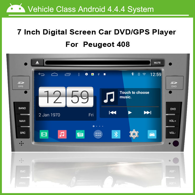 Android 4.4.4 Car DVD Player for Peugeot 308 408 2009-2012 Car GPS Multi-touch Capacitive screen,1024*600 high resolution.