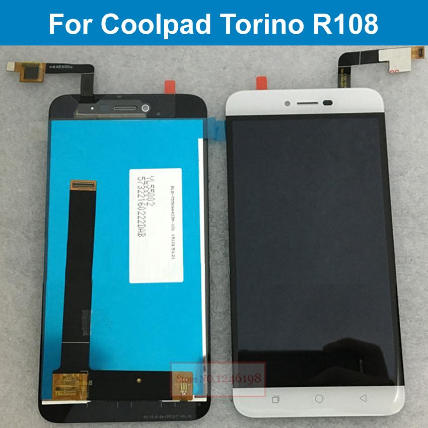 """Prix pour En gros 5.5 """"Or Blanc Couleur LCD Display + Écran Tactile Digitizer Assemblée Pour Coolpad Torino R108 Pièces de Téléphone De Remplacement"""