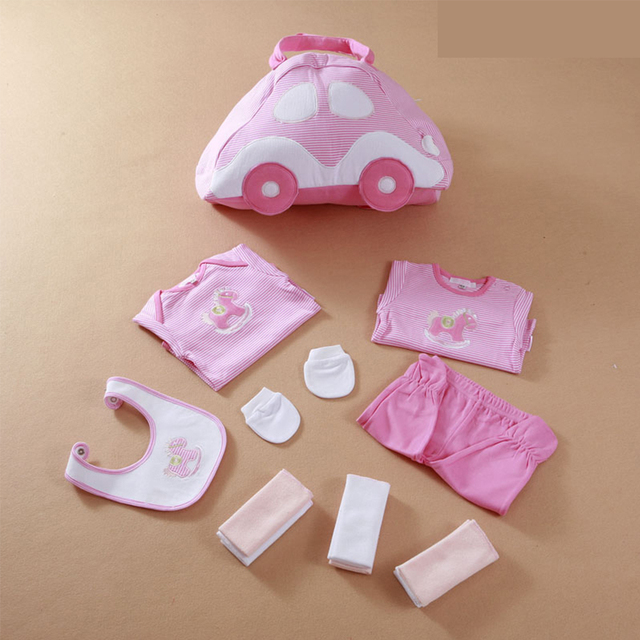 LeJin Mommy Bag Baby Rompers Baby Gift Set Clothing Set Accessories Infant Bag Bib Clothes Set Burp Newborn Gift