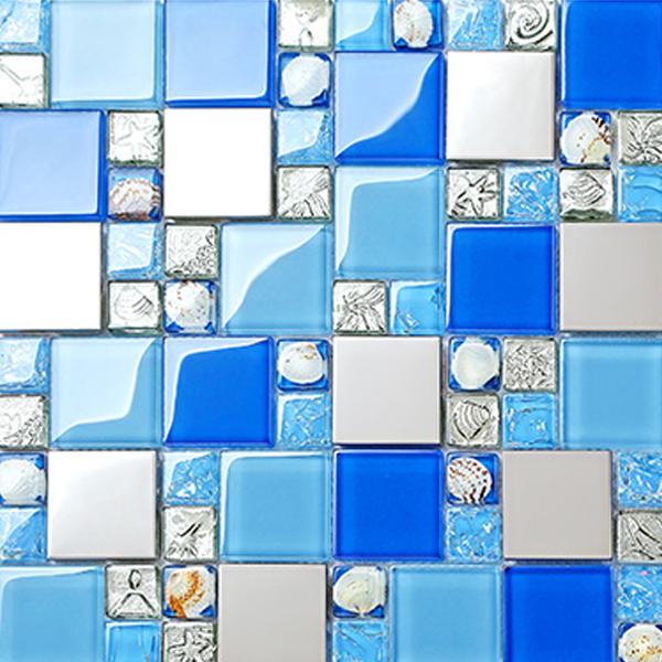 Seashell Mosaic Tile Blue Gl Designer Backsplash Washing Room