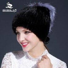 2016 new winter women's mink fur hat with siliver fox fur black color mink fur