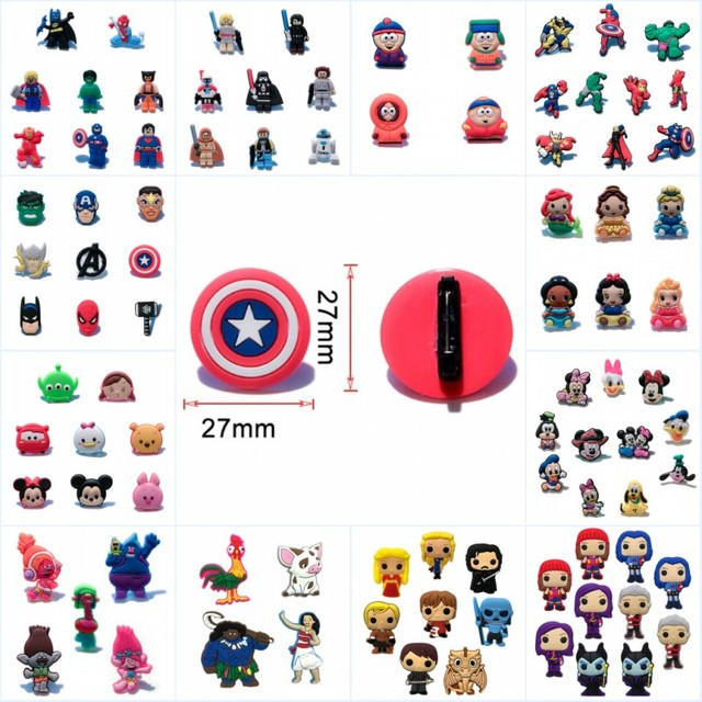 1000pcs Cartoon Pins Avenger Game of Thrones Tsum Justice League Unicorns PVC Charm Brooch DIY Badge for Hat Backpack Kids Gift