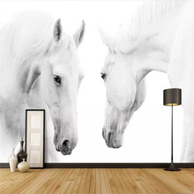 White horse art wall background painting professional production wallpaper mural custom photo wallpaper snow scene black and white art fashion tv background professional production wallpaper mural custom photo wallpaper