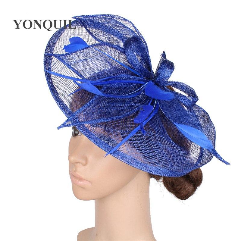 Comprar Ropa de cama de alta calidad pluma tocados lazo sombrero mujer  sombreros vintage estilo para deby evento carrera sombreros boda SYF104  Online ... d0e3407169fd
