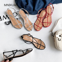 MNIXUAN Fashion summer women shoes gladiator sandals thick low heels 2019 new flip flops rome casual beach shoes silver size 34