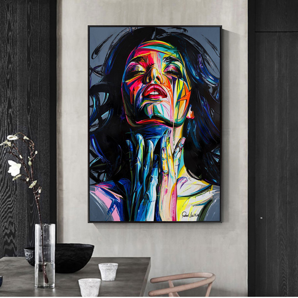Modern Canvas Print Poster Colorful Street Oil Painting Wall Art Room Decor