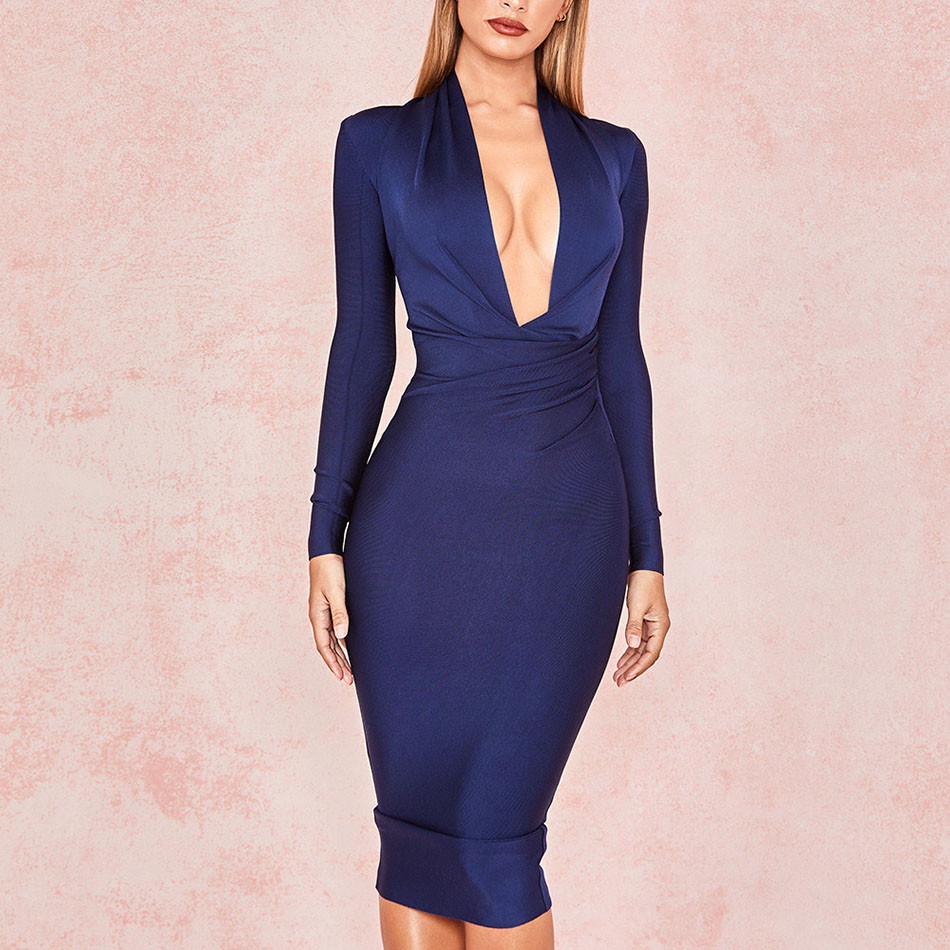 2019 New Deep V Neck Women Bandage Dress Full Sleeves Celebrity Bodycon Dress Sexy Club Vestidos Evening Party Dresses