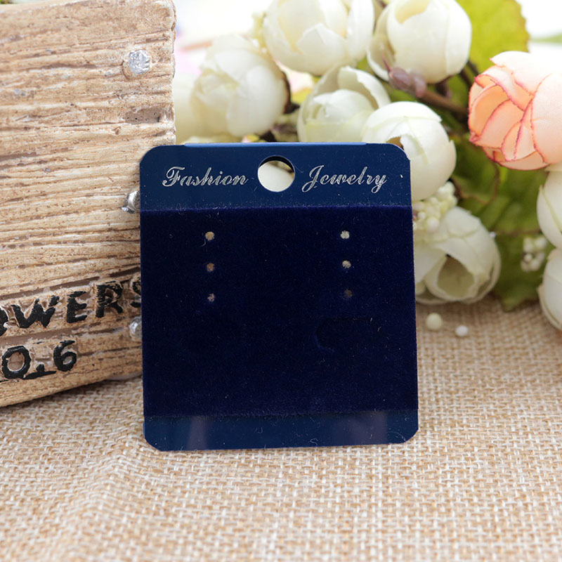 2018 New Fashion Earring card High Quality Dark Blue Velvet Earring Card 45X50MM Hanging Card Tags