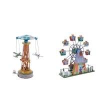 Vintage Ferris Wheel + Plane Carousel Tower Wind up Clockwork Tin Toy Gifts