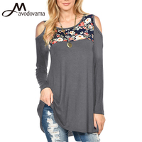 Avodovama M Women Fashion Blouse Long Sleeve Print Off Shoulder O Neck Sexy Casual Tops
