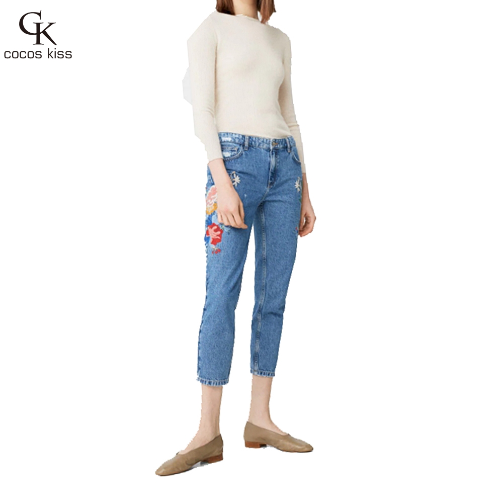 Flower embroidery jeans female blue casual pants capris 2017 spring and summer Pockets straight Cropped Trousers jeans women flower embroidery jeans female white casual pants capris spring summer pockets straight jeans women bottom pu patchwork trousers