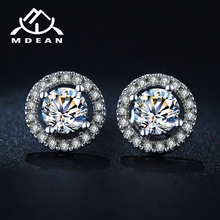 MDEAN Stud Earrings for Women White Gold Color Jewelry AAA Zircon Round Boucle D oreille Wedding
