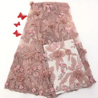 New French lace fabric, African lace embroidery fabric high quality 3D flowers with fine beads and gemstones