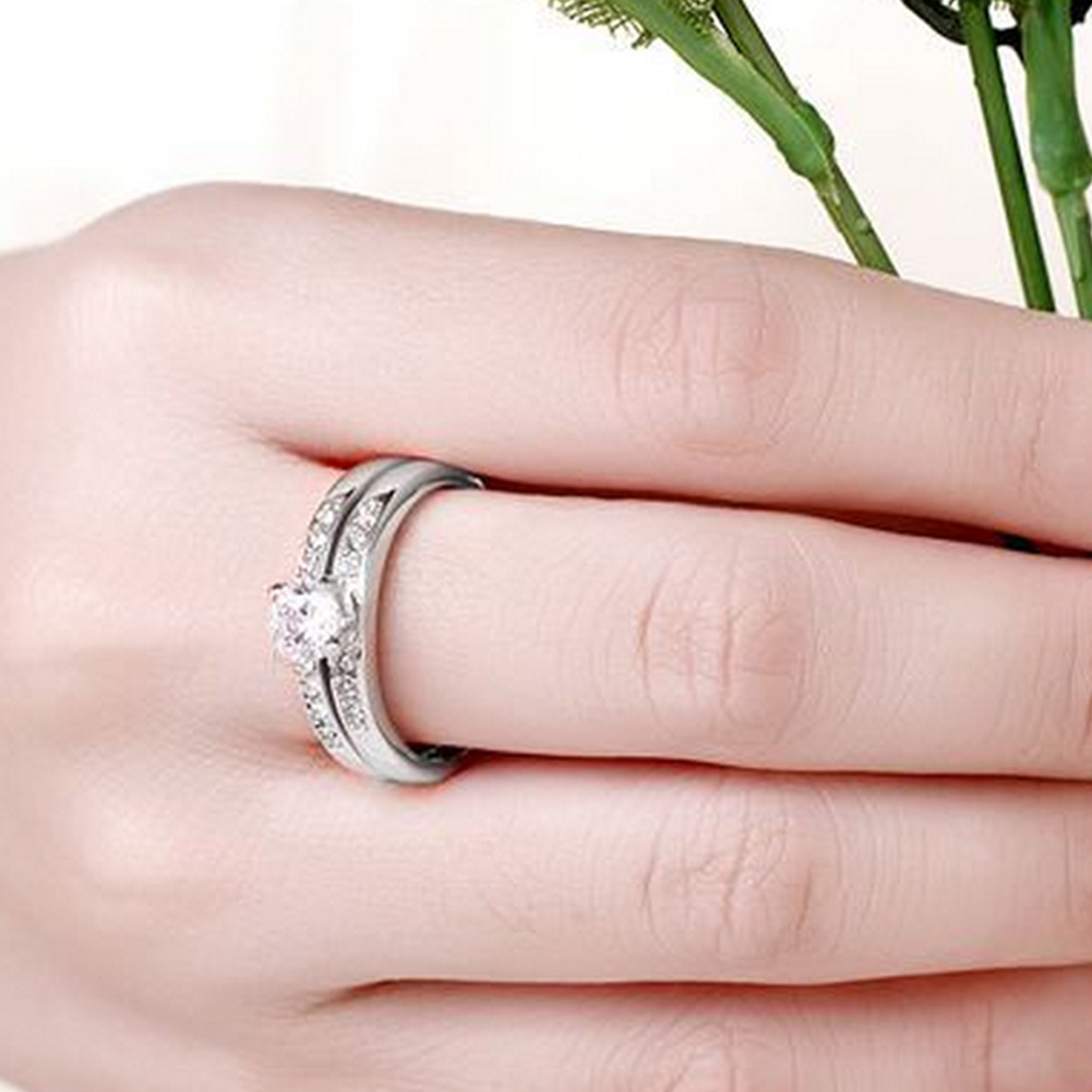 2 in 1 Glamour Women\'s Crystal Rhinestone Band Wedding Engagement ...