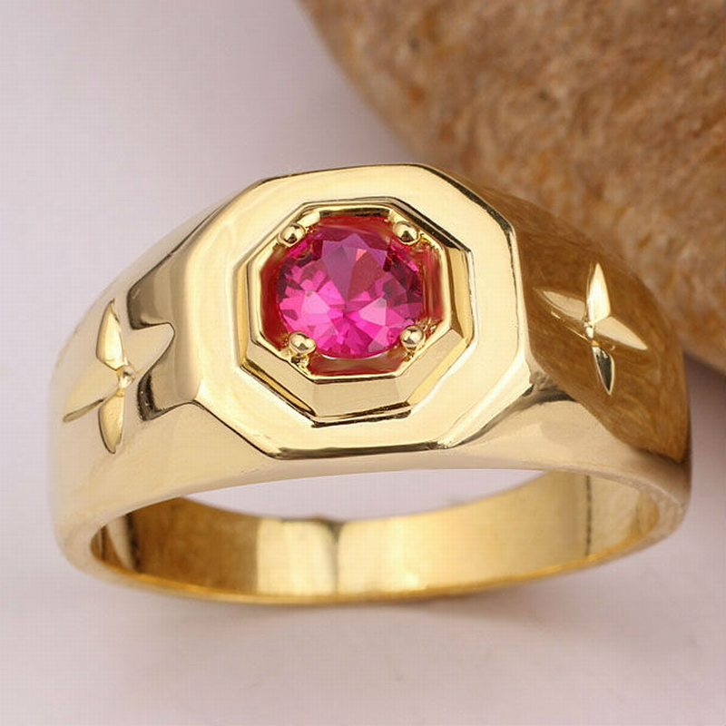 Yellow Gold Color Men Solid Silver font b Ring b font 5mm Center Stone Fashion font