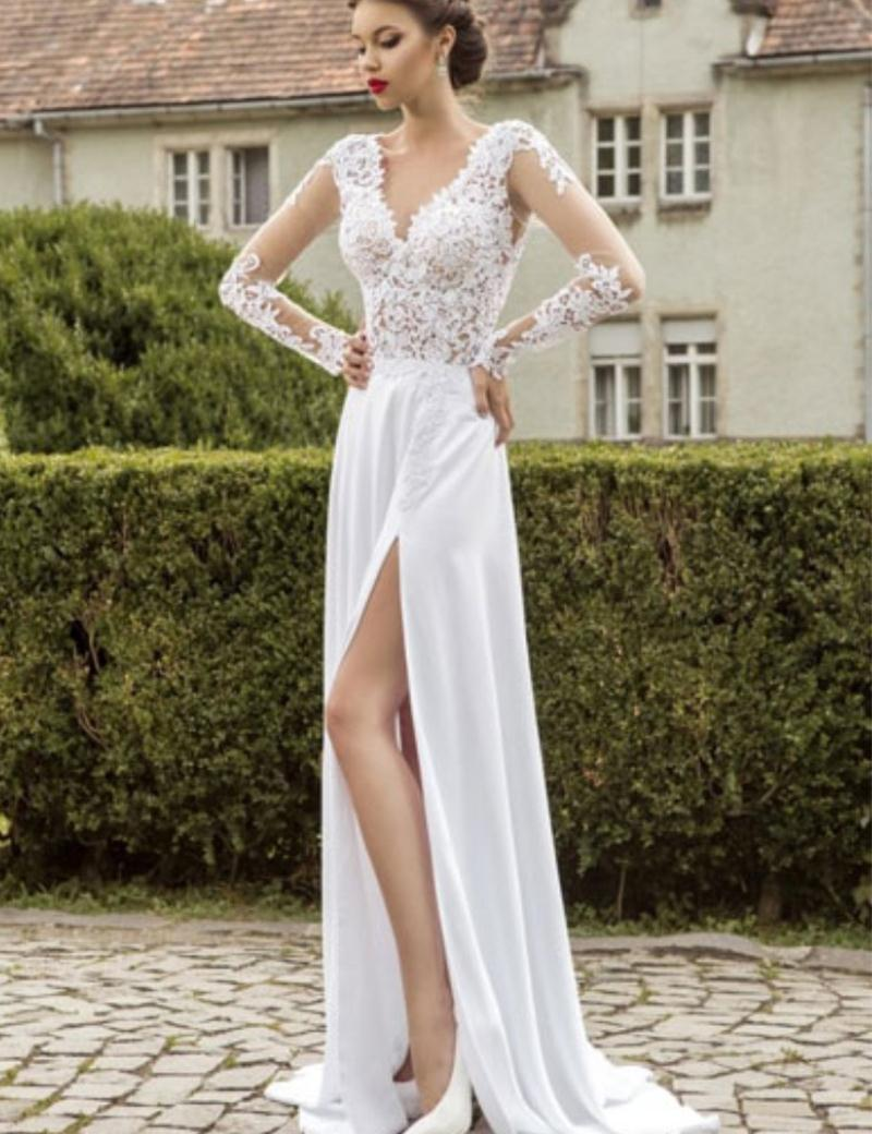 Beach Wedding Dresses 2015 Lace Long Sleeves