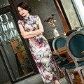 Alta Qualidade Retro Impressão Tradicional Mulheres Chinesas Longo Cheongsam Seda cetim Qipao Vestido Vestido Tamanho da Roupa S M L XL XXL