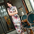High Quality Retro Print Traditional Chinese Women Long Cheongsam Silk Satin Qipao Dress Vestido Clothing Size S M L XL XXL