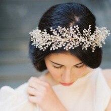 Dower me Stuning Gold Crystal Pearls Wedding Headband Tiara Bridal Hair Vine Accessories Handmade Women Headwear