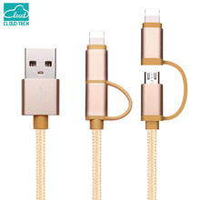 8 Pin Micro USB Cable 2 in 1 Nylon Braided Aluminum USB Data Charger Cable for iPhone 6 6s Plus Samsung Android Phone