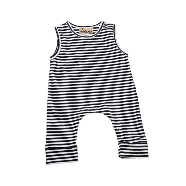 Unisex Baby Boys Summer Yellow Striped Sleeveless Rompers Outfits Clothes Sets