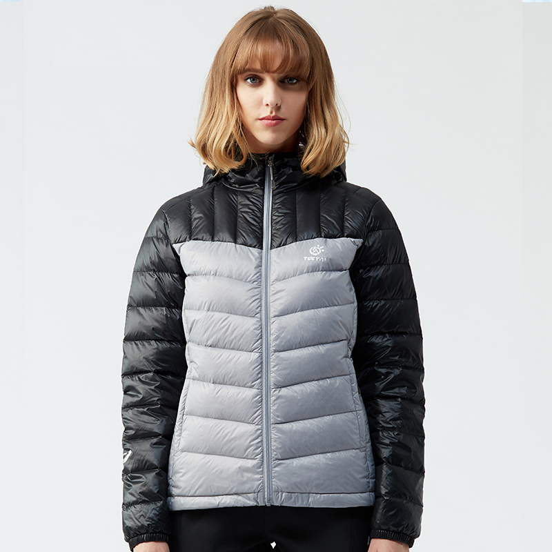 TECTOP Autumn Winter Outdoor Hiking Women Down Jackets Lightweight Thermal Hooded 90% White Duck Down Coats Female