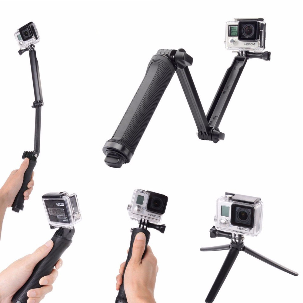 ZJM For GoPro Accessories Collapsible 3 Way font b Monopod b font Mount Camera Grip Extension