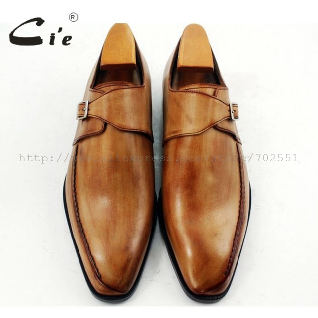 cie Square Toe Single Monk Straps Hand-Painted Brown 100% Genuine Calf Leather Outsole Breathable Handmade Men Flats Shoe MS35