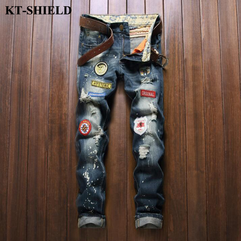 High Quality Jeans Men European style Ripped Denim Pants 100 Cotton Fashion Brand Slim Fit Trousers
