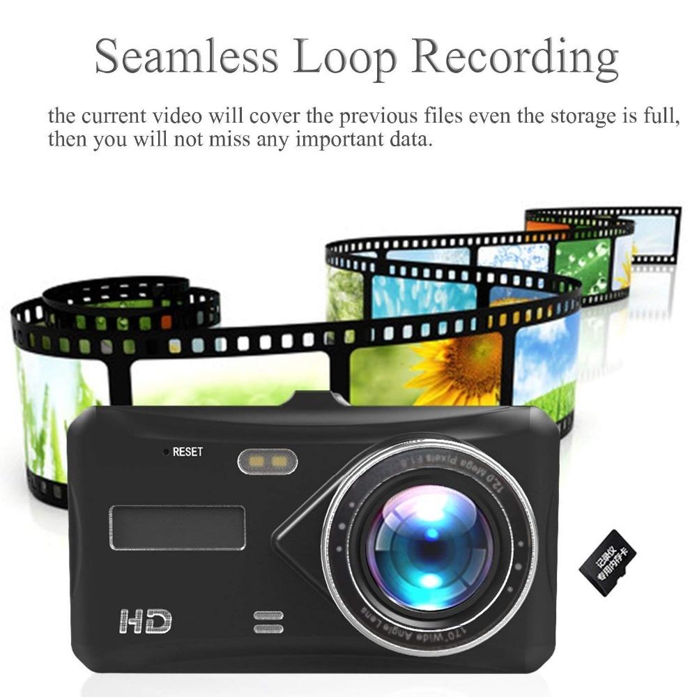 INRIGOROUS Dual Lens Dash Cam 4.3 Rearview Mirror Dash Cam Dual lens in Car Camera Black Box Car DVR Double Cameras Dashcams Car Video Recorder A30