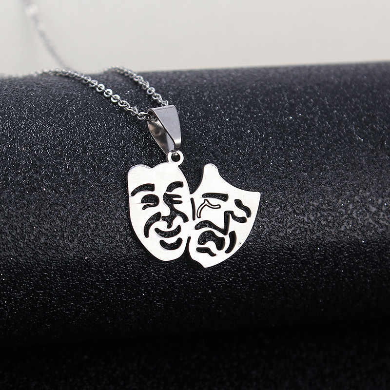 High Quality Stainless Steel Double Mask Cry Smile Face Pendant Necklace For Women Men Jewelry Gift