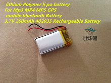 3.7V 260mAh 402035 Rechargeable Battery  lithium Polymer li po battery For Mp3 MP4 MP5 GPS  mobile bluetooth Battery