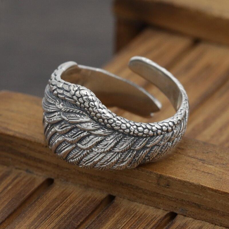 S925 en argent sterling punk tendance ange plume anneau mâle et femelle plume anneau