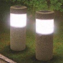 цена на Solar Power Stone Pillar White LED Solar Lights Outdoor Waterproof Garden Light Lawn Lamp Court Yard Pathway Decoration Lamp 6v