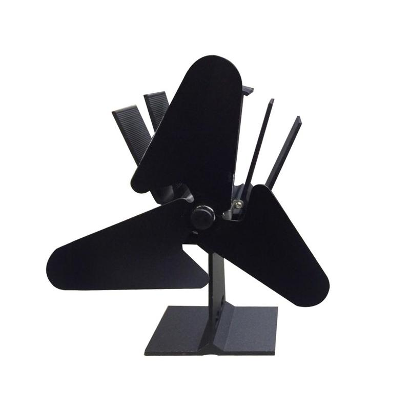 3 Blades Heat Powered Stove Fan Log Wood Burner Ecofan Quiet Black Home Fireplace Fan Efficient Heat Distribution