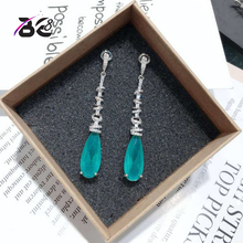 Be 8 2018 New Vintage Statement Earrings Long Drop Dangle Earrings Blue Color for Women Fashion Jewelry Boucle D'oreille  E617
