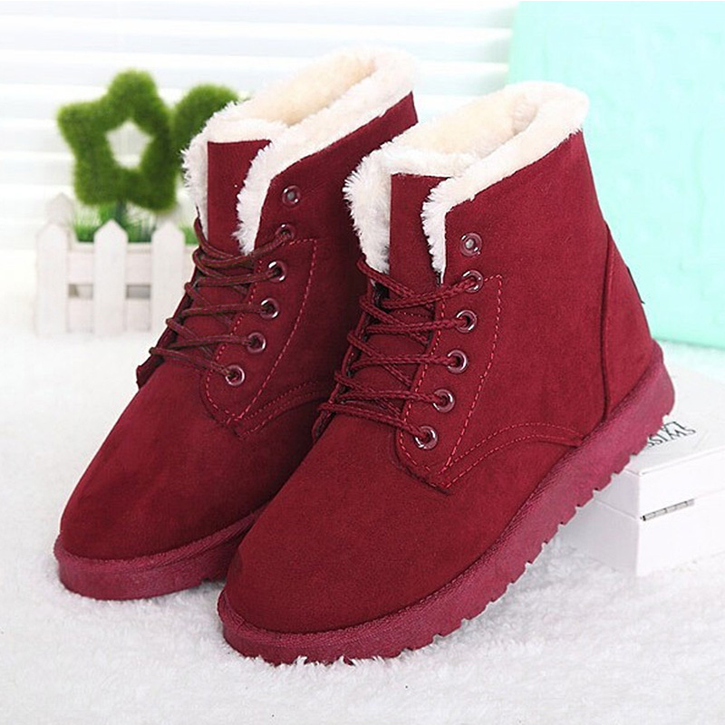 2017 Brand Women Boots Snow Warm Winter Boots Botas Ankle Boots Ladies Winter Shoes Black Lace Up Mujer Fur 2016 rhinestone sheepskin women snow boots with fur flat platform ankle winter boots ladies australia boots bottine femme botas