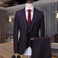 2018 New blazer Groomsmen Suits Slim Fit Mens Wedding Dress Prom Dinner Suit Groom Tuxedos 3piece jacket pant vest Business Suit