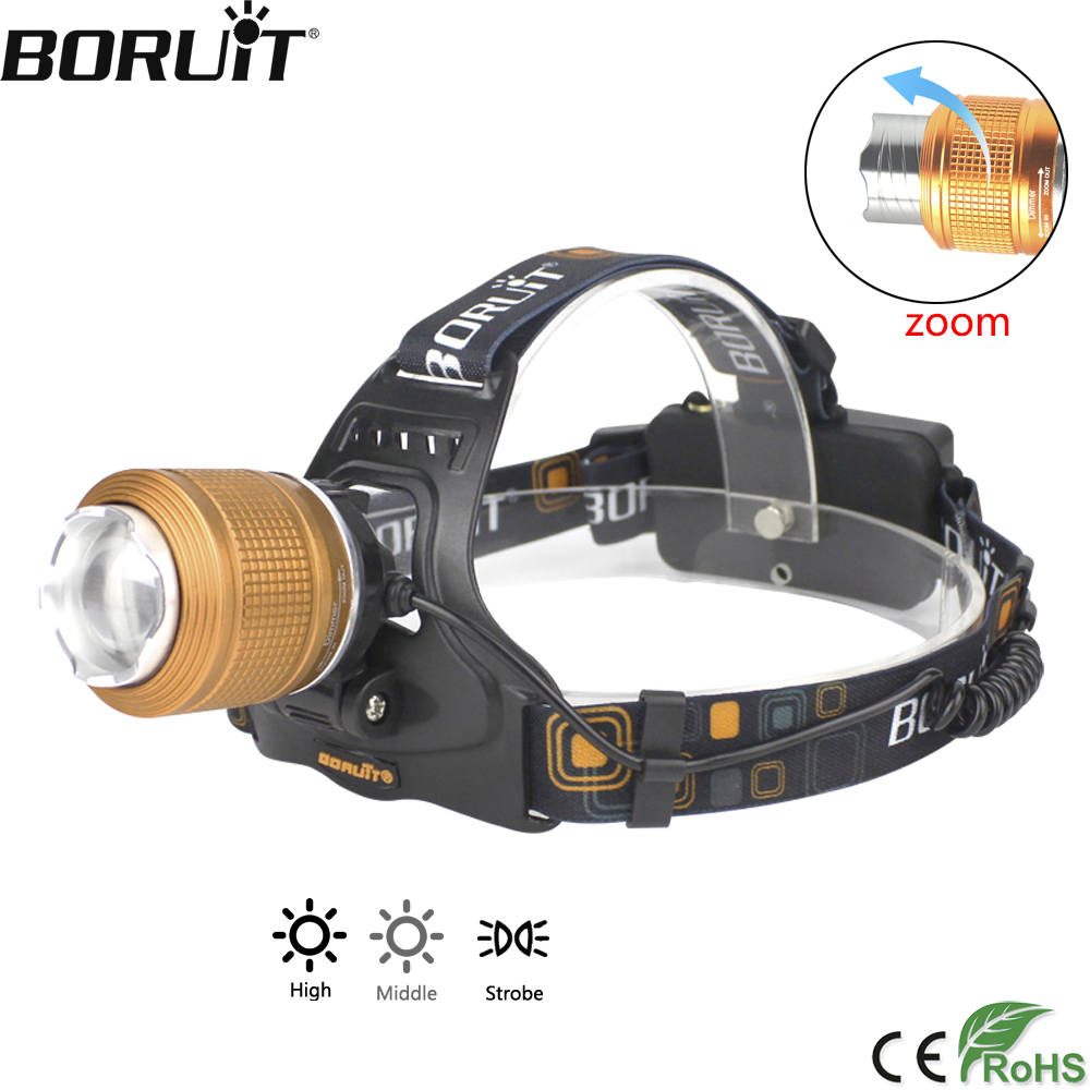 BORUiT 3-Mode Zoomable Headlamp XML T6 LED Headlight IPX4 Waterproof Head Torch Camping Fishing Flashlight by 18650 Battery