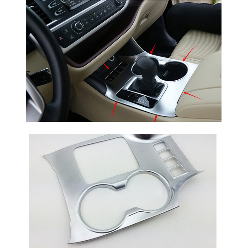 ABS chrome water cup holder decoration cover trim For Toyota Highlander 2015