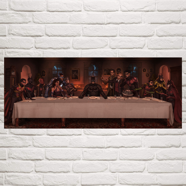 Comics Batman Catwoman The Last Supper Art Silk Poster Prints Wall Home Decor Painting 12×30 16×40 20×50 Inches Free Shipping