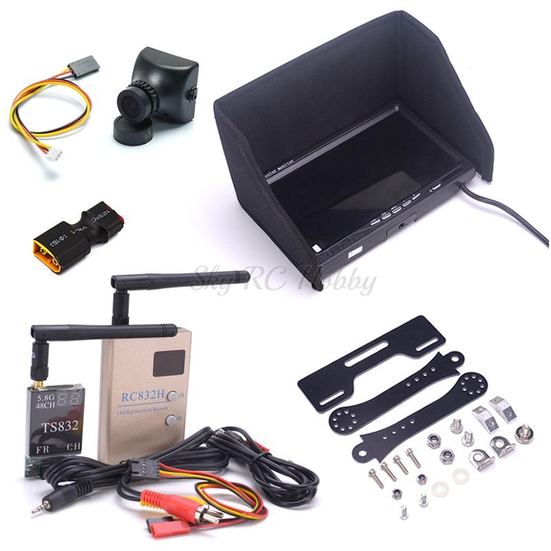 Sistema combinado FPV NO azul 7 pulgadas LCD 1024x600 soporte de montaje de Monitor 700TVL Cámara 5,8 Ghz 600 mw 48CH TS832 transmisor RC832H Rx-in Partes y accesorios from Juguetes y pasatiempos    1