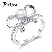 Grace 925 Sterling Silver Bow Tie Bowknot Charms แหวนสำหรับ Lady Cubic Zirconia และไข่มุกน้ำจืดเครื่องประดับ Fine(China)