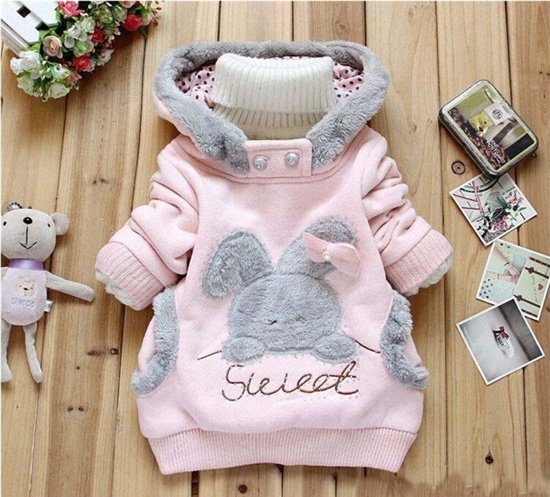 Girls Sweatshirts Hoodies Children Clothing Autumn And Winter Baby girl Thick Cotton Tops Kids Cute Cartoon Rabbit Hooded Coat