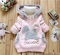 Meninas outerwear hoodies clothing outono e inverno bebê menina das crianças jaqueta de algodão grosso crianças casaco com capuz de coelho bonito dos desenhos animados