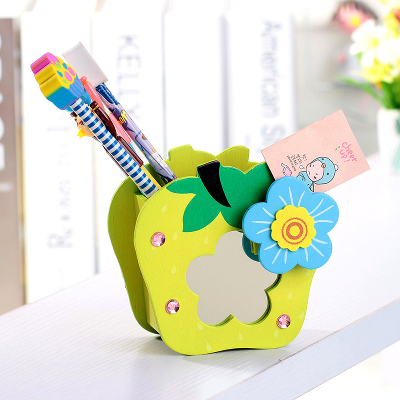 cute cartoon wood fruit pen holders with mirror clap pencil holder