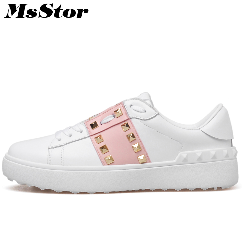 MsStor Natural Leather Round Toe Women Flats Fashion Rivet Casual Women Shoes 2018 Spring Mixed Colors Women Brand Flat Shoes beffery 2018 spring patent leather shoes women flats round toe casual shoes vintage british style flats platform shoes for women